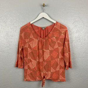 Lucky Brand M Orange Diamond Tie Front Shirt